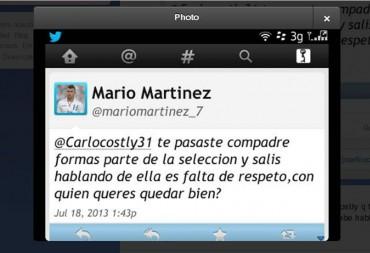 Mario Mario Martínez le reclama a Carlos Costly