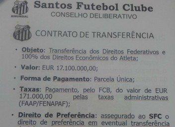 Un documento prueba que Neymar salió por 17 millones