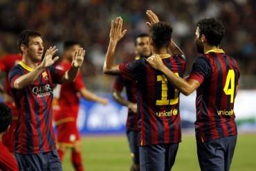 Neymar marca su primer gol vestido de azulgrana