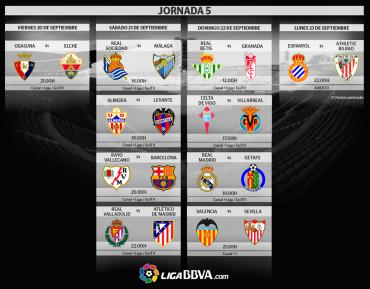 Jornada 5 de la Liga Española de este fin de semana