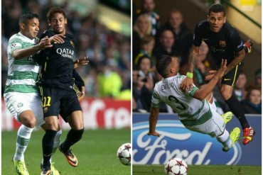 Emilio Izaguirre deja mareado a Neymar y emplea el puño con Dani Alves