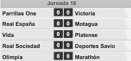 Jornada #16 de la Liga Nacional de Honduras.