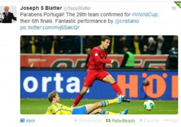 Blatter felicita a Cristiano a través de su cuenta de twitter