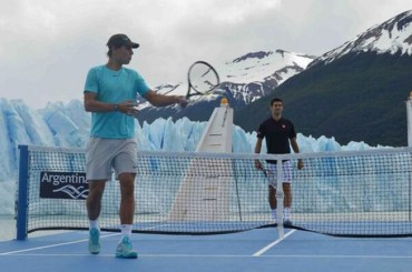 Exhibición de Nadal y Djokovic frente al Glaciar Perito Moreno