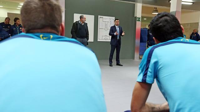 Josep Maria Bartomeu visita a la plantilla del FC Barcelona