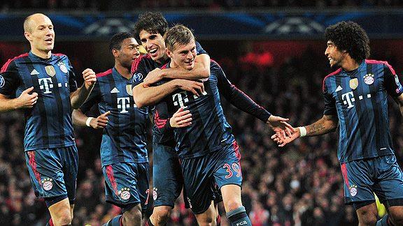El Bayern Múnich del español Pep Guardiola doblegó al Arsenal