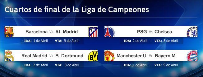 Barça-Atlético y Real Madrid-Dortmund en cuartos de Champions ...