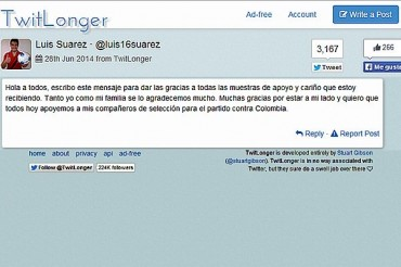 Luis Suárez agradeció el respaldo tras la sanción que le impuso FIFA