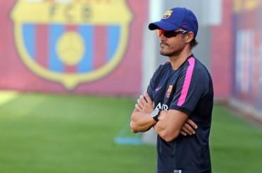 El primer entrenamiento de Luis Enrique con el Barça