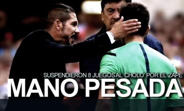 Diego Simeone fue sancionado por ocho partidos