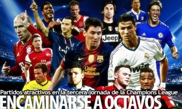 Partidos atractivos en la tercera jornada de la Champions League