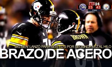 Steelers 43, Ravens 23; 'Big Ben' enjauló cuervos