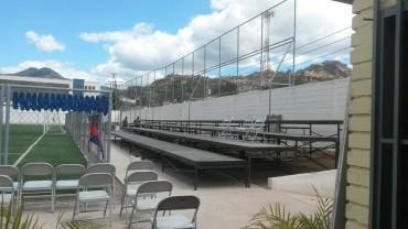 Directiva del Gimnástico FC instala graderías móviles para enfrentar al Olimpia