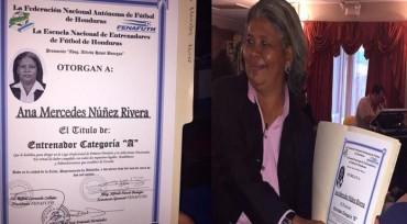 Ana Mercedes Núñez entrenadora Hondureña con título oficial en Categoría A