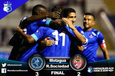 Motagua consigue triunfo agónico ante Real Sociedad