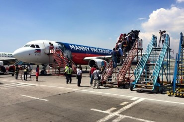 Avión filipino rindió tributo a Pacquiao