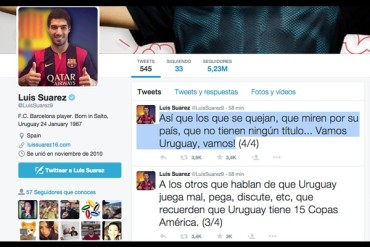 El 'Pistolero' 'disparó' para defender a Uruguay