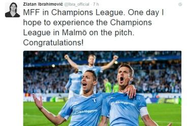 Zlatan felicitó al Malmoe por llegar a Champions