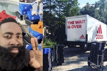 El regalo de Adidas a Harden: ¡un camión lleno de tenis!