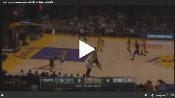 La noche mas grande del español Ricky Rubio en la NBA