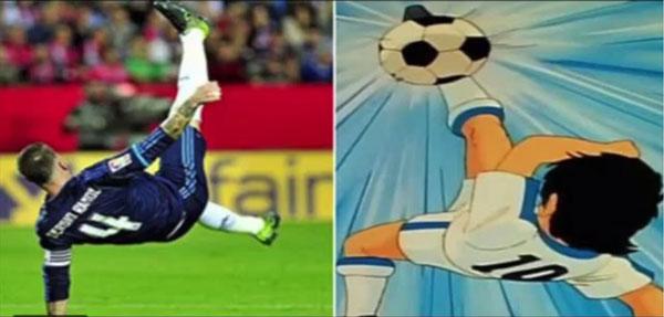 Video: La chilena y lesión de Ramos, en versión Óliver Atom