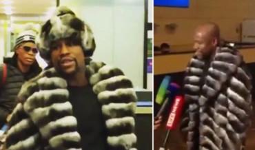 VIDEO: Extravagante atuendo de Mayweather contra el frío ruso