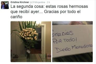 Maradona envió rosas a presidenta de Argentina