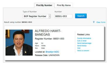Alfredo Hawit ya tiene asignado su numero de prisionero