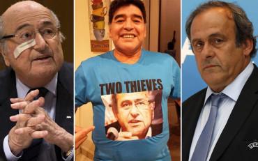 Maradona 'retrata' a Blatter y Platini
