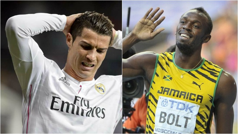 Usain-Bolt-Cristiano-Ronaldo-sprint-speed-wing-striker-Real-Madrid
