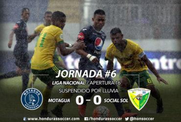 Por fuerte lluvia en la capital se suspende el partido entre Motagua-Social Sol