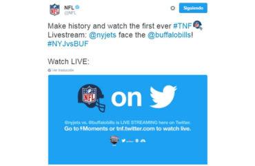 La NFL iniciará la transmisión de partidos por Twitter