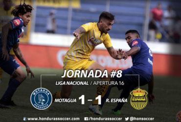 Real España empata merecidamente ante Motagua en Tegucigalpa
