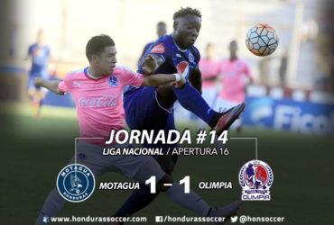 En un parejo clásico, Motagua empató ante Olimpia en Tegucigalpa