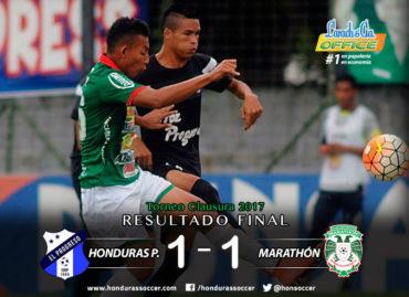 En un entretenido encuentro, Honduras Progreso y Marathón no pudieron pasar del empate