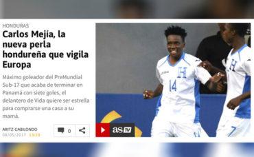 Diario Español destaca a Carlos Mejía como la nueva perla de Honduras