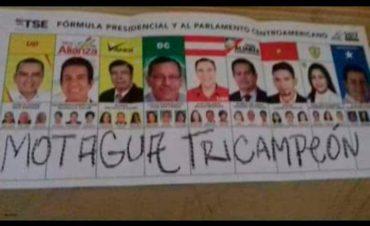 """Aficionado Motaguense escribió """"Motagua Tricampeón"""" en una papeleta presidencial"""